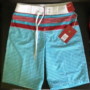 Mossimo board shorts- blue/red/white- NWT- 28